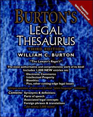 Burton's Legal Thesaurus, 3rd Edition 9780071373098