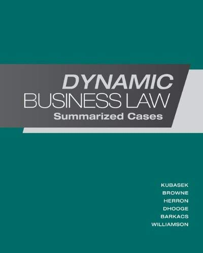 Dynamic Business Law: Summarized Cases 9780078023774