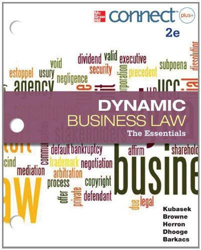 Loose-Leaf Dynamic Business Law: The Essentials with Connectplus 1s 9780077924577