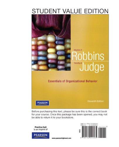 Essentials of Organizational Behavior, Student Value Edition 9780132545365
