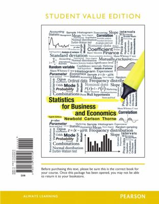 Statistics for Business and Economics, Student Value Edition 9780132745758