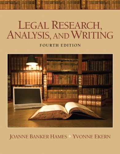 Legal Research, Analysis, and Writing 9780135109441