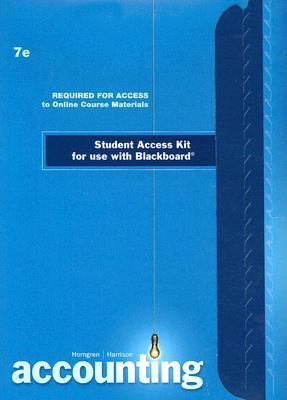 Accounting Student Access Kit for Use with Blackboard 9780136138815