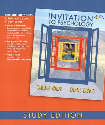 Invitation to Psychology, Study Edition 9780132238939