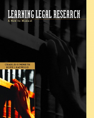 Learning Legal Research: A How-To Manual 9780130450340