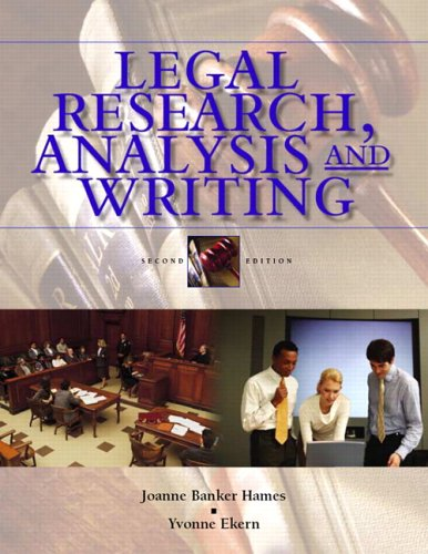 Legal Research, Analysis, and Writing: An Integrated Approach 9780131188884