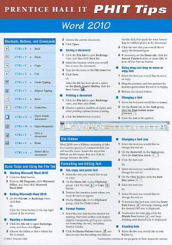 Prentice Hall IT PHIT Tips: Word 2010 9780135088555