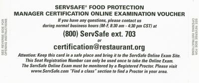 Servsafe Food Protection Manager Certification Online Examination Voucher 9780135026694
