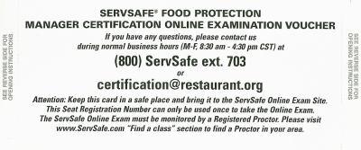 Servsafe Food Protection Manager Certification Online Examination Voucher 9780135026694