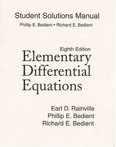 Student Solutions Manual for Elementary Differential Equations 9780135927830