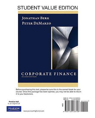 Corporate Finance, Student Value Edition 9780132138796