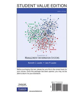 Essentials of MIS, Student Value Edition 9780136111443