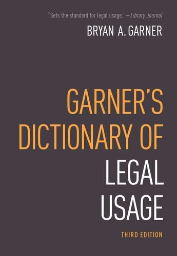 Garner's Dictionary of Legal Usage 9780195384208