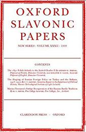 Oxford Slavonic Papers, New Series: Volume XXXII (1999)
