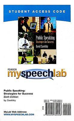 Public Speaking: Strategies for Success 9780205782253