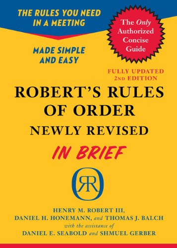 Robert's Rules of Order in Brief: Updated to Accord with the Eleventh Edition of the Complete Manual 9780306820199