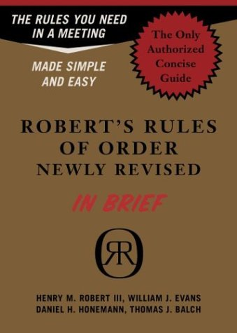 Robert's Rules of Order Newly Revised in Brief 9780306813542