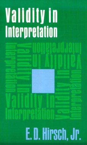 Validity in Interpretation 9780300016925