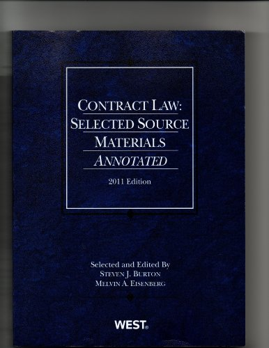 Contract Law: Selected Source Materials Annotated 9780314274267