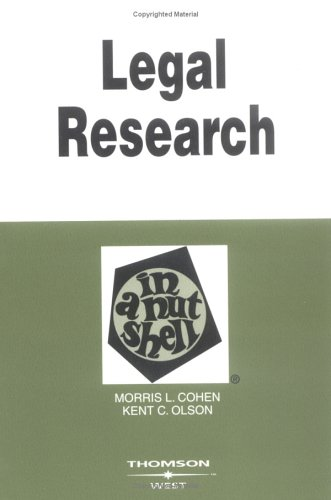Legal Research in a Nutshell 9780314147073