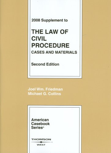 Supplement to the Law of Civil Procedure: Cases and Materials 9780314190482