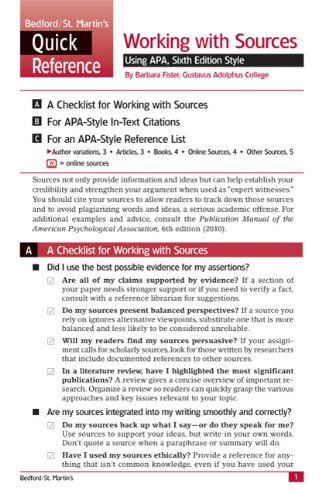 Working with Sources Using APA, Sixth Edition Style: A Bedford/St. Martin's Quick Reference 9780312653569