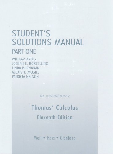Student Solutions Manual Part 1 for Thomas' Calculus 9780321226464