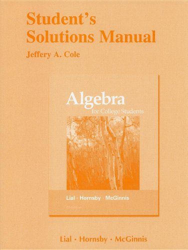 Algebra for College Students Student's Solutions Manual 9780321715494