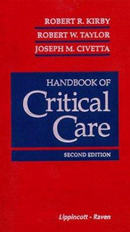 Handbook of Critical Care 9780397515974