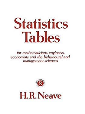 Statistics Tables: For Mathematicians, Engineers, Economists and the Behavioural and Management Sciences 9780415104852