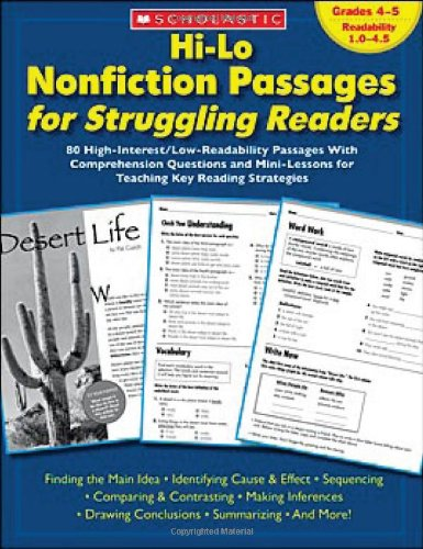 Hi-Lo Nonfiction Passages for Struggling Readers: Grades 4-5: 80 High-Interest/Low-Readability Passages with Comprehension Questions and Mini-Lessons 9780439694971