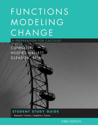 Functions Modeling Change: A Preparation for Calculus 9780470105597