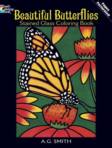 Beautiful Butterflies Stained Glass Coloring Book 9780486430614