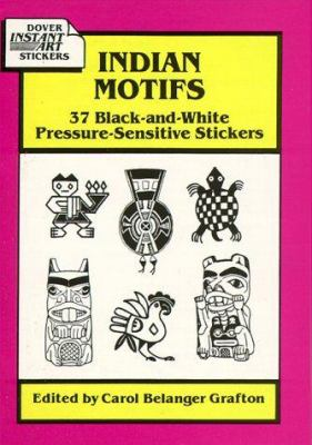 Indian Motifs: 37 Black-And-White Pressure-Sensitive Stickers
