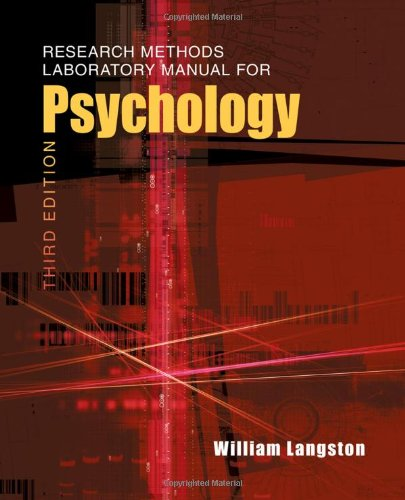 Research Methods Laboratory Manual for Psychology 9780495811183