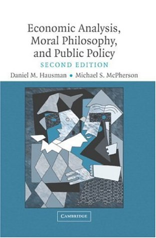 Economic Analysis, Moral Philosophy and Public Policy 9780521608664