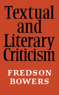 Textual and Literary Criticism 9780521094078