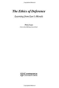 The Ethics of Deference: Learning from Law's Morals 9780521810470