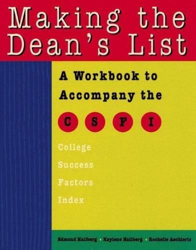 Making the Dean's List 9780534248628