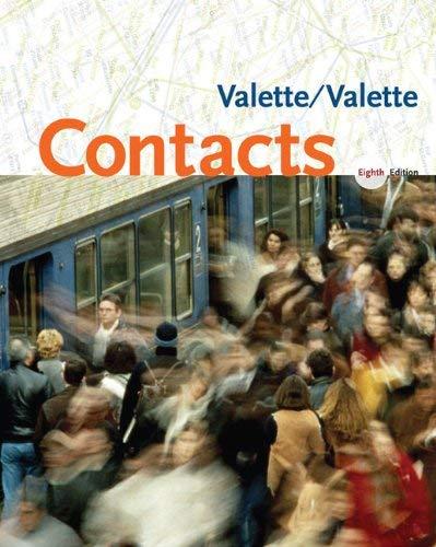 Contacts: Langue et Culture Francaises Jean-Paul Valette