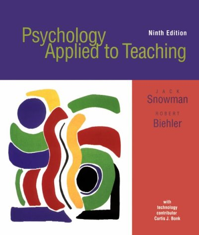 Psychology Applied to Teaching with Upgrade CD-ROM and Web, Ninth Edition 9780618096046