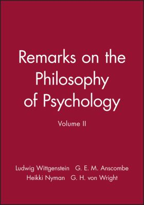 Remarks on the Philosophy of Psychology 9780631130628