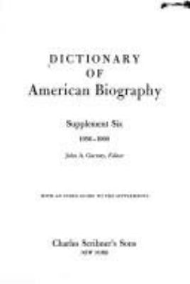 Dictionary of American Biography Supplement 9780684162263