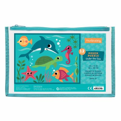 Mudpuppy Under the Sea Pouch Puzzle, 12 Extra Thick Colorful Pieces, 14x11  Great for Kids Age 2-4  Perfect for Travel  Helps Develop Hand-Eye Coordin