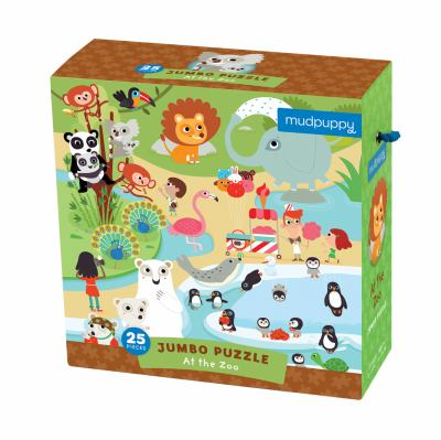 Mudpuppy At the Zoo Jumbo Puzzle, 25 Jumbo Pieces, 22x22  Great for Kids Age 2+ - Whimsical Zoo Scene with Colorful Animals  Helps Develop Hand-Eye Co