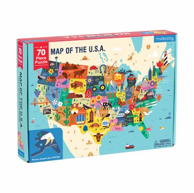 Mudpuppy Map of The United States of America Puzzle, 70 Pieces, 23x16.5, Ideal for Kids Age 5+, Learn All 50 States by Name, Capital City, and More, D