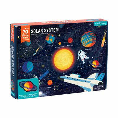 Mudpuppy Solar System Puzzle, 70 Pieces, 23x16.5, Great for Kids Ages 5-9, Learn The Solar System with Planet-Shaped Puzzle Pieces, Double-Sided Space