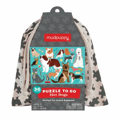 Mudpuppy Hot Dogs to Go Puzzle, 36 Pieces, Ages 3+, Convenient Travel Bag, Fun Dog-Themed Artwork, Made with Safe, Non-Toxic Materials
