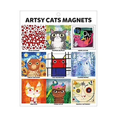 Galison Artsy Cats Magnets  Artistic and Funny Refrigerator Magnets, Includes Nine Designs, Each One Measures 1.5 x 1.5  Makes A Great Gift for Cat an