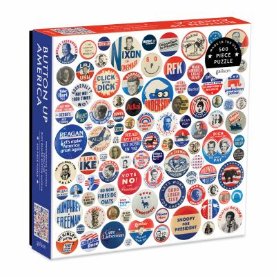 Galison Button Up America Puzzle, 500 Pieces, 20 x 20  Jigsaw Puzzle Featuring A Photo of Political Campaign Buttons from American History  Challengin